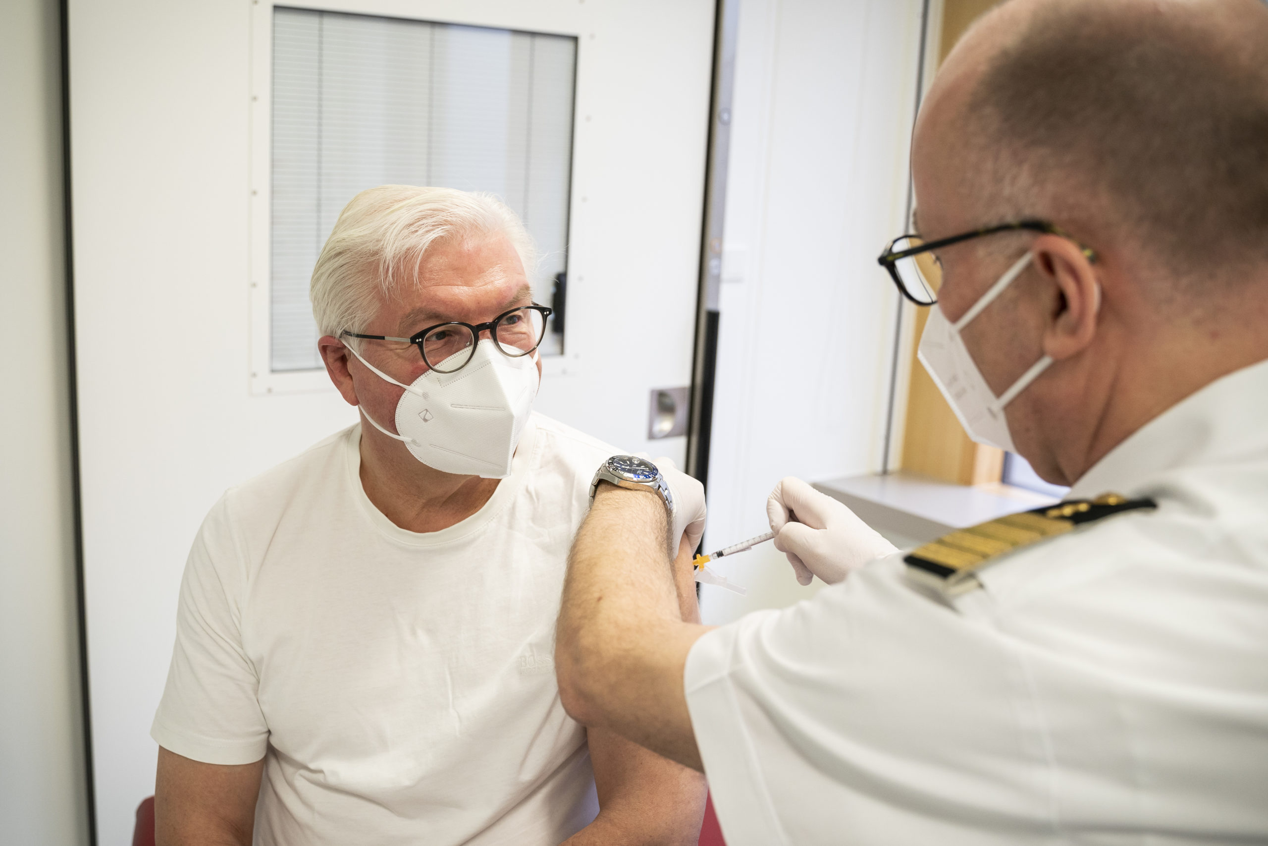Germany Federal President Frank-Walter Steinmeier receives a dose of the AstraZeneca vaccine at the Bundeswehr Hospital on April 1 in Berlin, Germany. (Steffen Kugler/Bundesregierung via Getty Images)