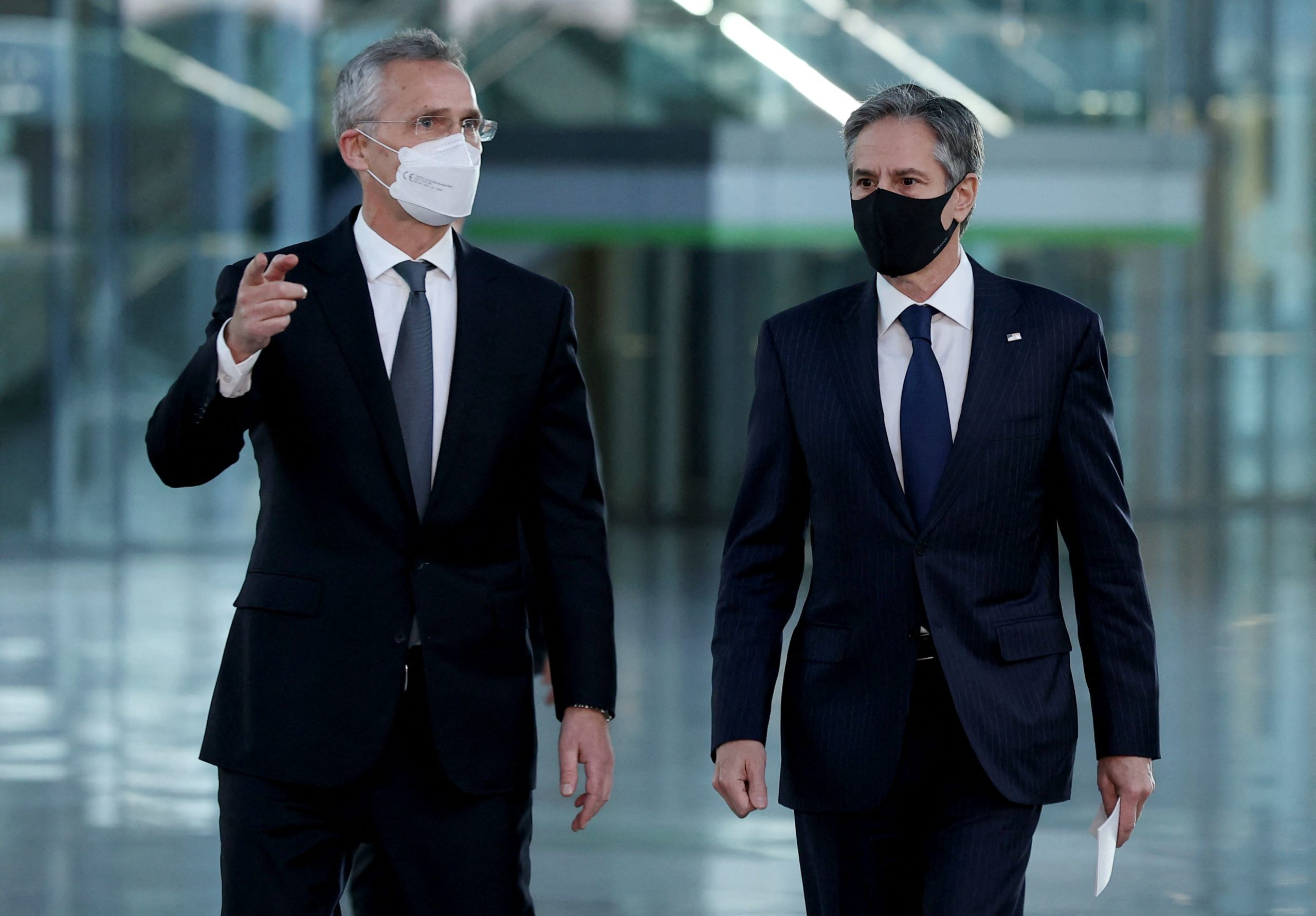 Secretary of State Antony Blinken and NATO's chief Jens Stoltenberg arrive for a press conference on Wednesday in Brussels, Belgium. (Kenzo Tribouillard/Pool/AFP via Getty Images)